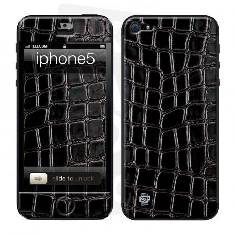 Skincover® iPhone 5/5S/5SE - Croco Cuir Black