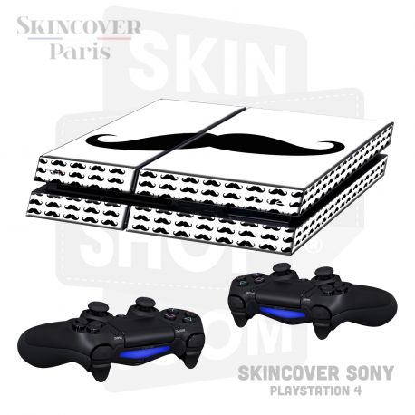 Skincover® Sony Playstation 4 - PS4 - Moustache B&W
